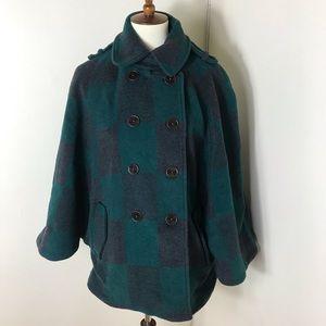Anthropologie Cartonnier plaid wool blend cape